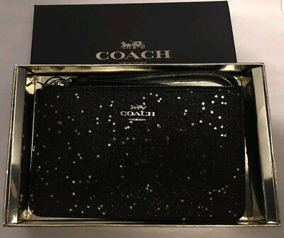 New Coach Glitter Black Wristlet: NWT Authentic Purse/Handbag/clutch-Free Ship