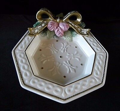 Fitz and Floyd PINK ROSES GOLD BOW CHRISTMAS PLATE Vintage Dish