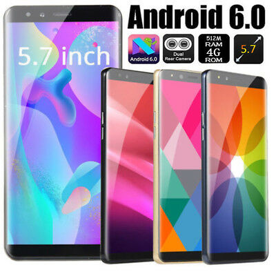 "5.7"" Smart Cell phone Dual Sim Android 6.0 3G Mobile WIFI GPS Unlocked Cheap New"