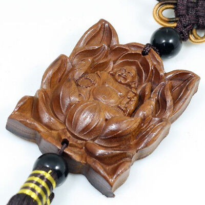 Wood Carved Buddhism Beads Lotus Luck Buddha Statue Car Decoration Pendant