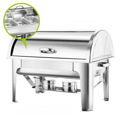 SOGA 3*3L Stainless Steel Roll Top Three Trays Buffet Chafer Dish