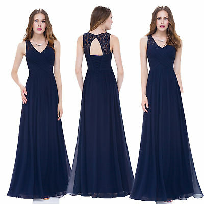 Ever-Pretty Navy Blue Sleeveless Evening Dress Long A Line Cocktail Party Dress