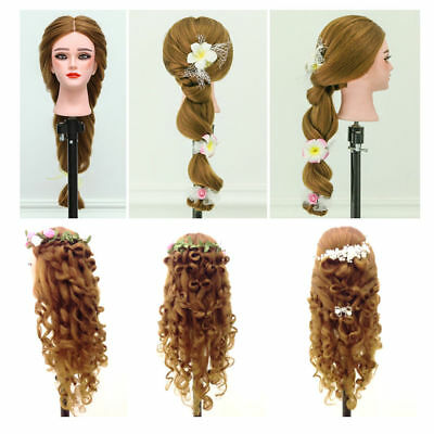 "24"" Real Hair Practice Training Head Mannequin Hairdressing Doll + Clamp UK Hot"