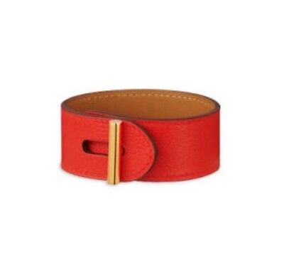 ddf16b4c645 New Hermes Cuir Leather Hydra Bracelet Capucine Red   Gold  800 w Box ...