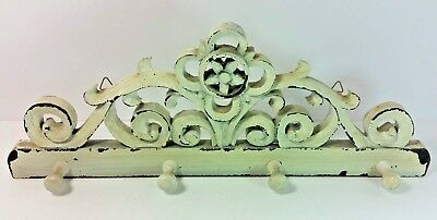 "Wall CoatHat Rack Vintage 4 pins Carved Painted and Distressed 16""W x 6""H"