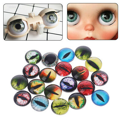 20PCs 8/12/18mm Handmade Glass Doll Eyes Animal DIY Craft Eyeballs Dinosaur Eyes
