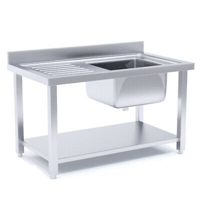 SOGA Commercial Kitchen Right Sink Work Bench Stainless Steel Food 120*70*85