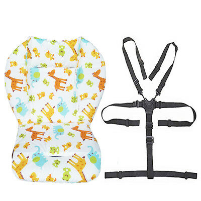 Baby Stroller/High Chair Seat Cushion Pad Cover and Straps 1 Suit (Animal)