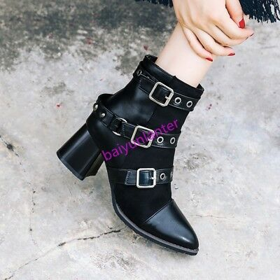 Womens PU Leather Pieced Buckles Ankle Boots Pointy Toe Blcok Heel Fashion Shoes