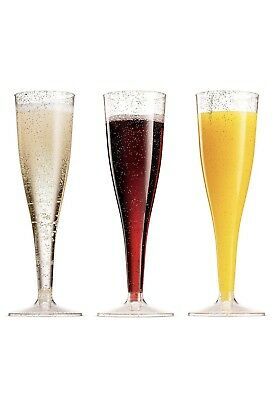 50 Gold Glitter Plastic Champagne Flutes - 5 Oz 142 mL – Disposable Glasses – or