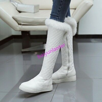 Winter Womens Fur Trim Knee HIgh Boots PU Leather High Top Shoes Fashion Size