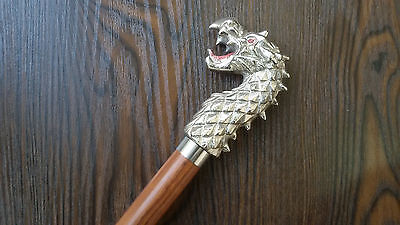 Dragon Handle cane Vintage Antique Style, Brass, Wood Victorian Walking Stick
