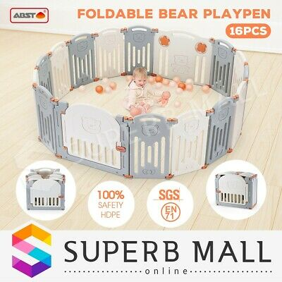 16 Sided Foldable Panel Baby Playpen Interactive Baby Room Kids Safety Gate ABST