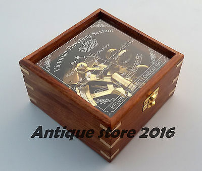 Nautical Collectible Brass Working Maritime Sextant W/Wooden Box Christmas Gift