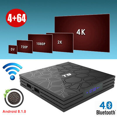 2019 4+64G Android 8.1.0 Oreo TV BOX T9 Quad Core 2.4G WIFI BT 4.0 3D Sports 3D