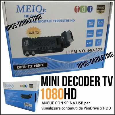 Mini Decoder Hd333 Ricevitore Digitale Terrestre Dvbt2 Full Hd Usb 2.0 Scart Hd