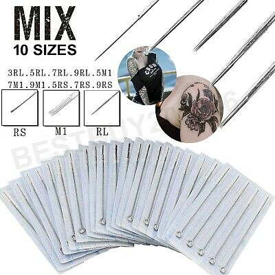 100pcs Mixed Assorted Sterile Tattoo Needles 10 Sizes-3 5 7 9RL 5 7 9RS 5F 7 9M1