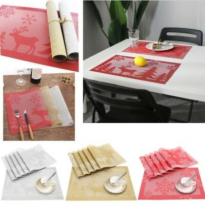 Set of 6 PVC Placemats Rectangle Dining Table Place Settings Mats Coasters Xmas