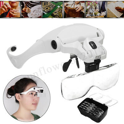 5 Lens Eyelash Extension LED Light Magnifying Spec Glasses Hands Free Magnifier
