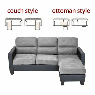 LEATHER &FABRIC CHAISE CORNER SOFA 3 SEATER SOFA SETTEE COUCH GRAY BROWN L Shape