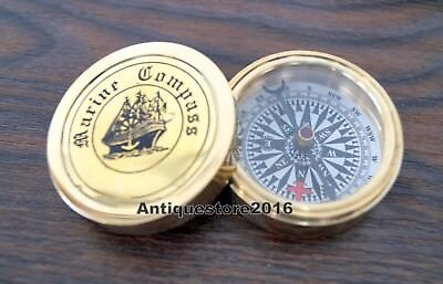 Vintage Antique Style Brass Heavy Maritime Navigational Compass Nautical Gift