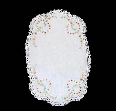 Vintage pretty oval embroidered lace trim doily mat 30cm