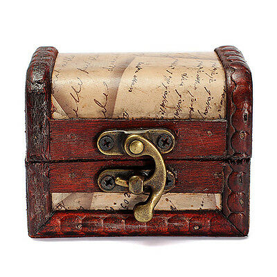 Small Vintage Stamp Metal Lock Jewelry Treasure Chest Case Handmade Wooden Box
