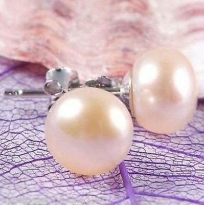 10-11mm Pink Genuine Freshwater Pearl Silver Stud Earrings
