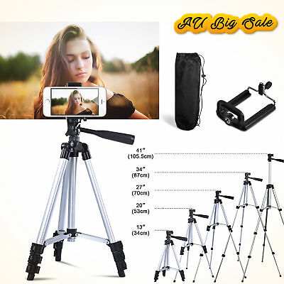 Universal Telescopic Camera Tripod Stand Phone Holder For iPhone Samsung Sony UK