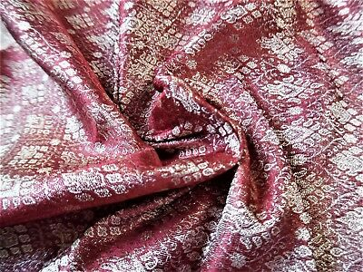 "MICRO PRINT JACQUARD SILK BROCADE~WINE/PEARL/GOLD~9""x22""~DOLL FABRIC"