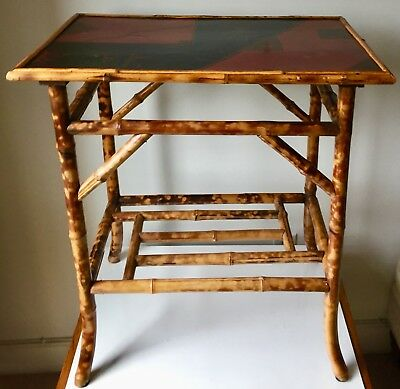 Bamboo Chinoiserie Side Table-Painted Top