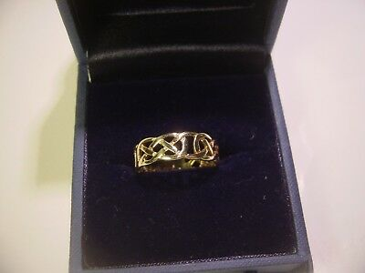 """Stunning Solid 9 Ct Gold """"celtic"""" Band Ring-Size V-7Mm Wide-Polished-Unusual"""