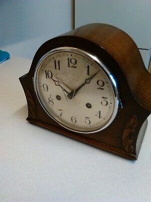 1930's German Oak Cased Mantle Clock with Gong Chimes - Spares/Repair (1487)
