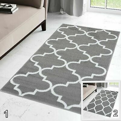 New Grey Modern Hallway Runner Trellis Pattern Long Hall Rug Front Door Carpet