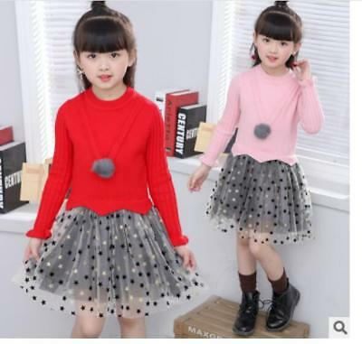 Korean Student Girl's Child Tops Sweater Knitted Skirt 2 PC Suits Sweater dre