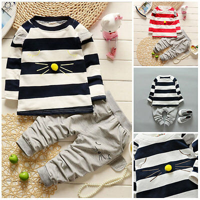 2pc Baby clothes Toddler kids baby boys girls cotton outfits set tracksuit cat