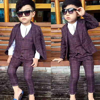 3PC Baby Kids Boys Suits Waistcoat Check Blazer Suit Party Wedding Page Boy Suit