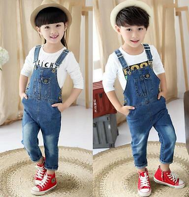 Girls Boys Kids Childrens Dungarees Jeans Denim Pants Button Belt Strap Trousers