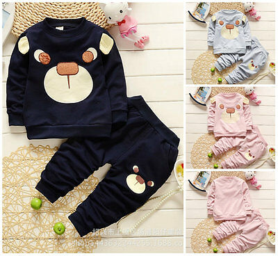 2pc Baby clothes Toddler kids baby boys girls outfits top& pants tracksuit bear