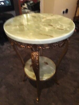 Vintage Green Round top brass table