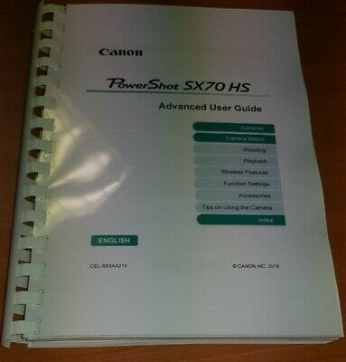 Canon Powershot Sx70 Hs Printed User Manual Guide Instructions 289 Pages A5