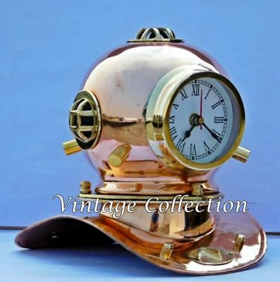 Antique Brass Divers Diving Helmet with Clock Vintage Nautical Collectible Decor