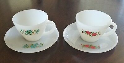 Lot of 2 - Vintage Fire King 1- Blue Flowers & 1- Red Roses Cups & Saucers