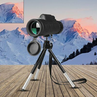 40X60 Monocular Telescope Night Vision Prism Scope With Phone Clip Tripod D7