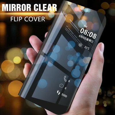For Samsung Galaxy A7 2018 Smart Clear View Mirror Flip Stand Leather Case Cover