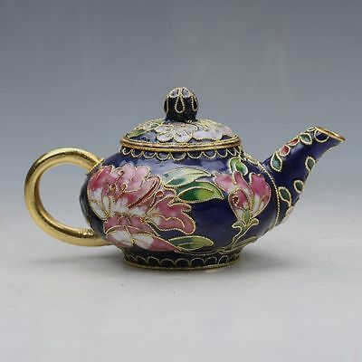 Exquisite Chinese Cloisonne Handmade Flower Teapot