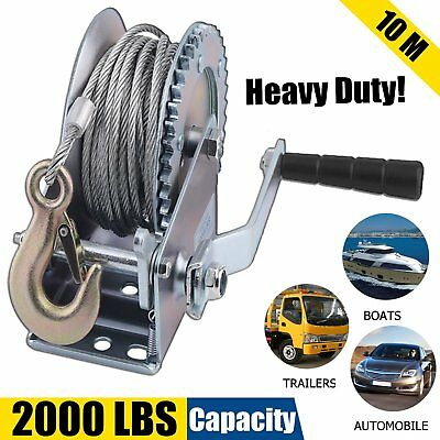 Heavy Duty 2000 LB HAND CABLE WINCH  FOR AUTO BOAT TRAILER  TOOL TOW PULLER