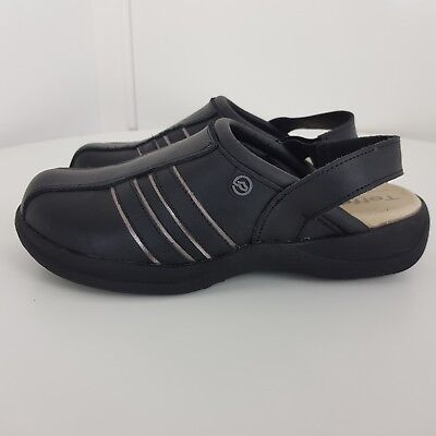 Toffeln Shoes Air Active Leather Antistatic Slip Style Black Silver Size 37 UK 4