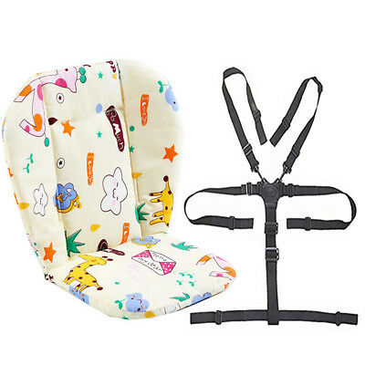 Baby Stroller/High Chair Seat Cushion Pad Cover and Straps 1 Suit (Giraffe)
