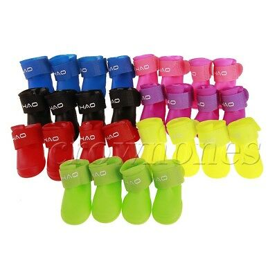 4Pcs Non-Slip Cute Pet Shoes Booties Waterproof Rain Boots for Puppy Cat Walking